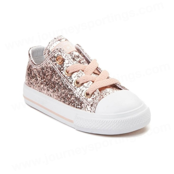 Converse Chuck Taylor All Star Lo Glitter Sneaker Baby Toddler Rose Gold